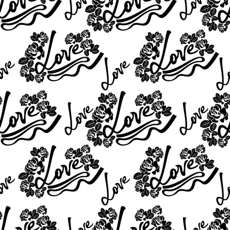 sensation: Seamless pattern with single word love and roses silhouettes. Original custom hand lettering. Vector clip art. Illustration