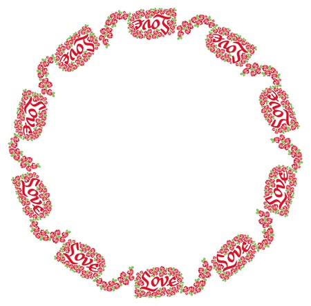 calligraphical: Round frame with roses and custom written word Love. Design element for greeting cards, invitations, prints. Vector clip art.