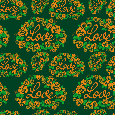 allover: Seamless pattern with single word love and roses silhouettes. Original custom hand lettering. Vector clip art. Illustration