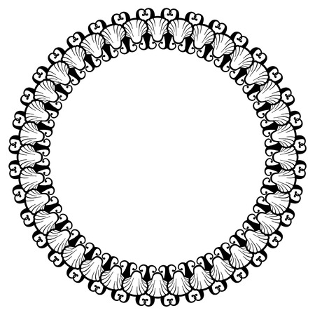 baroque picture frame: Black and white round frame with shells. Vector clip art.