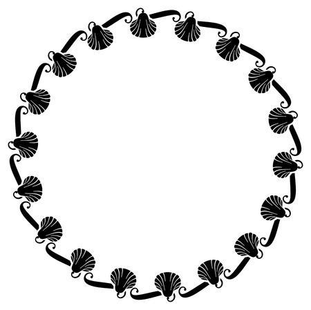 embossing: Black and white round frame with shells. Vector clip art.