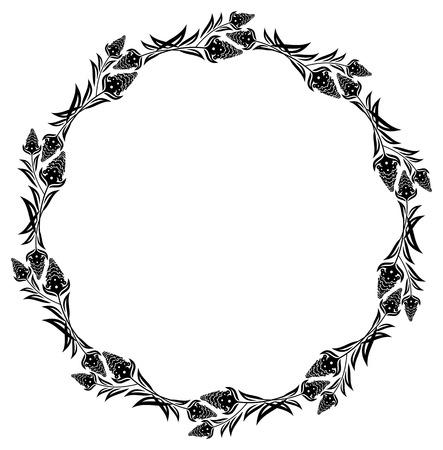 Cornice rotonda silhouette floreale. Vector clip art.