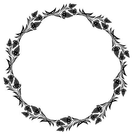 Round floral silhouette frame. Vector clip art.