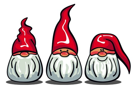 Three cute gnomes with white beards and long red hats. Funny characters for Christmas decorations, greetings cards and other design artworks. Vector clip art.