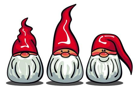 Trois gnomes mignons à barbe blanche et de longs chapeaux rouges. personnages drôles pour les décorations de Noël, cartes de voeux et autres oeuvres d'art de conception. Vector clip art. Vecteurs