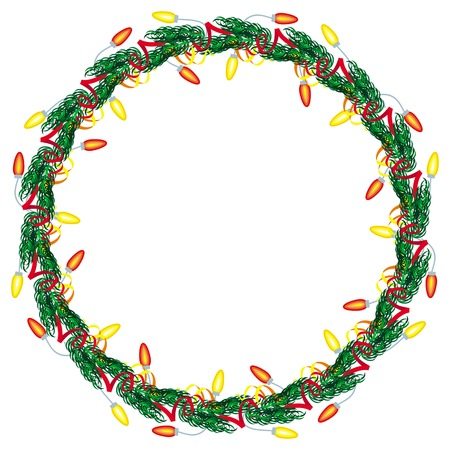 Christmas wreath decorated with light garlands. Design element for Christmas decorations, greetings cards and other design artworks. Vector clip art.