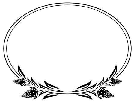 Noir et blanc cadre ovale avec fleurs décoratives silhouettes. Vector clip art.