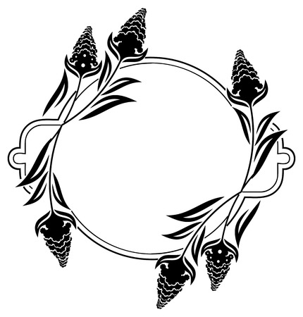 embossing: Round label with black and white decorative flowers silhouettes. Copy space.Vector clip art. Illustration