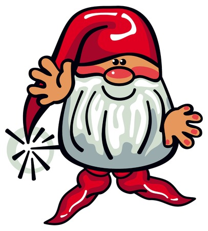 One cute gnome with beard and long red hat on a white background. Funny character for Christmas decorations, greetings cards and other design artworks. Vector clip art. Ilustracja