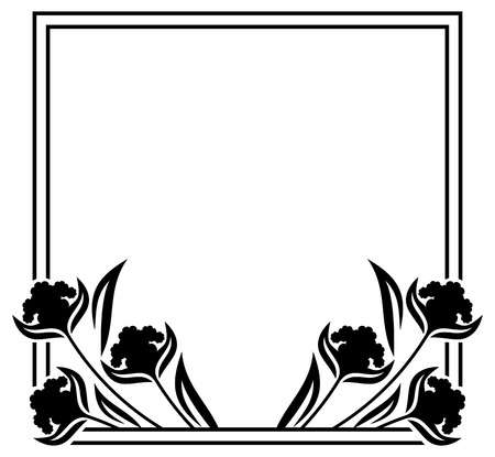rectangular: Square label with black and white decorative flowers silhouettes. Copy space. Design element for your artwork. Vector clip art.