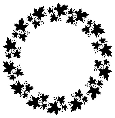 cliche: Black and white decorative round frame with maple leaves silhouettes. Vector clip art.