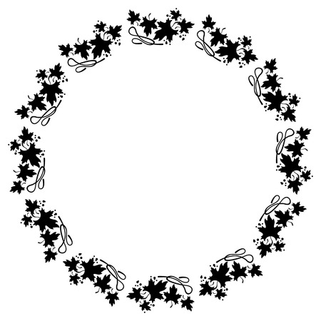 embossing: Black and white decorative round frame with maple leaves silhouettes. Vector clip art.