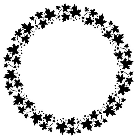 free fall: Black and white decorative round frame with maple leaves silhouettes. Vector clip art.