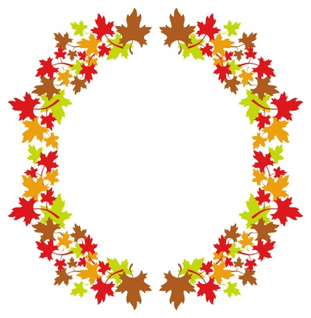 free fall: Autumn round frame with colorful maple leaves. Vector clip art.