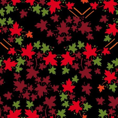 allover: Leaf fall. Autumn seamless pattern with colorful maple leaves. Vector clip art.