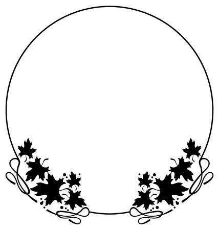embossing: Round black and white frame with maple leaves silhouettes. Vector clip art.