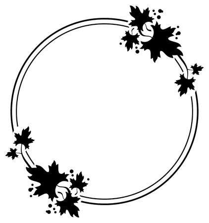 estereotipo: Round black and white frame with maple leaves silhouettes. Vector clip art.