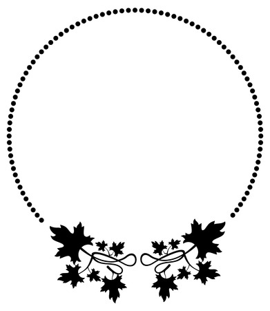 Round black and white frame with maple leaves silhouettes. Vector clip art.