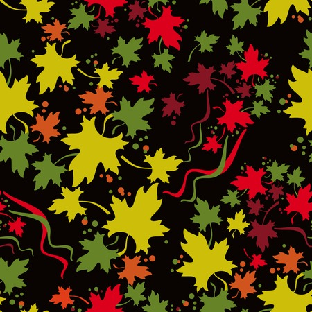 allover: Autumn seamless pattern with colorful maple leaf fall. Vector clip art.