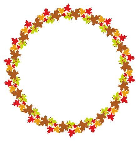 estereotipo: Marco redondo del otoño con las hojas de arce coloridas. Clip art.