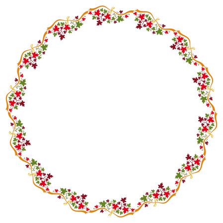Autumn round frame with colorful maple leaves. Vector clip art.