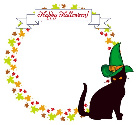 circle objects: Vector round frame with a black cat in witch hat, maple leaves and hand drawn greeting text Happy Halloween!. Original custom design element for greeting cards, invitations, prints.