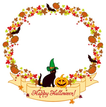Vector round frame with a black cat in witch hat, pumpkin, maple leaves and  hand drawn greeting text Happy Halloween!. Original custom design element for greeting cards, invitations, prints. Illustration