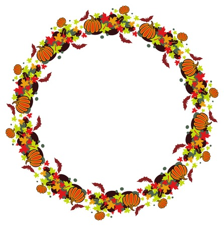 Round vector frame with pumpkins, bats and maple leaves.