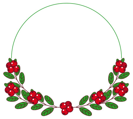 whortleberry: Round frame with cranberries and free space for text. Forest gifts. Vector clip art. Illustration