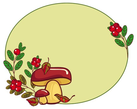 fungus: Oval frame with mushrooms and cranberries. Vector clip art.