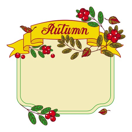 roll paper: Autumn forest background with mushrooms, cranberries and artistic written word Autumn. Vector frame with free space for text. Illustration