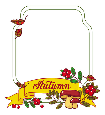 cranberries: Autumn forest background with mushrooms, cranberries and artistic written word Autumn. Vector frame with free space for text. Illustration