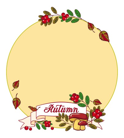 cranberries: Round label with mushrooms, cranberries and artistic written word Autumn. Autumn forest background.Vector clip art. Illustration