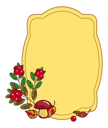cranberries: Color frame with mushrooms and cranberries. Autumn forest background.Vector clip art. Illustration