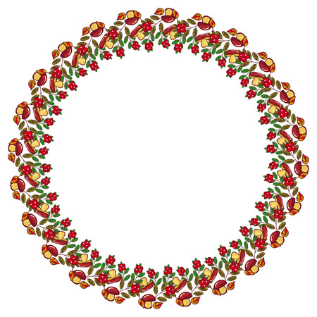 cranberries: Round frame with mushrooms, cranberries and free space for text. Autumn forest background. Vector clip art. Illustration