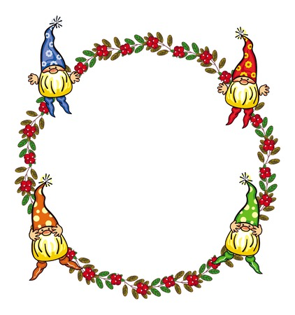 Round frame with cute gnomes and red berries. Funny background for decorations, greetings cards, childrens books and other design artworks. Vector clip art. Illustration