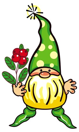 whortleberry: Cute gnome in long green cap and forest berries. Funny character for decorations, greetings cards, childrens books and other design artworks. Vector clip art.