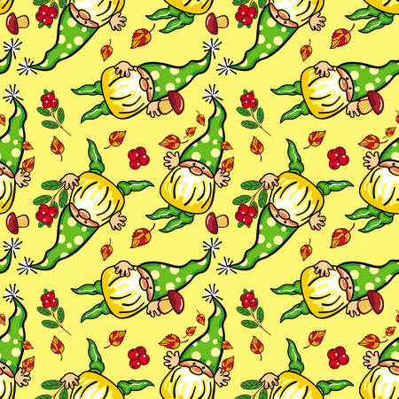 gnomos: Funny seamless pattern with forest gnomes in green caps. Vector clip art.