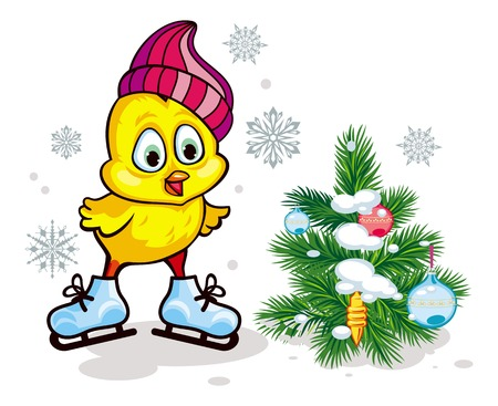 Cute chicken in funny hat ice skating. Winter holiday illustration with Christmas tree. Vector clip art.