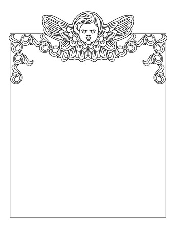 cherub: Black and white  frame with outline cherub in vintage style. Vector custom element for design artworks.