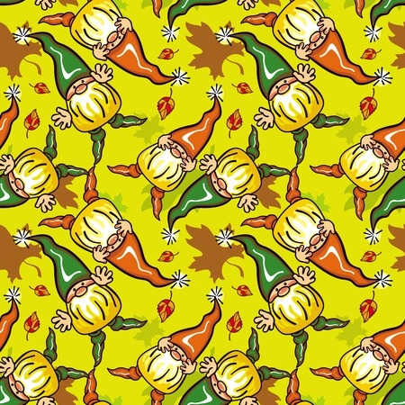 gnomos: Funny seamless pattern with forest gnomes. Vector clip art. Vectores