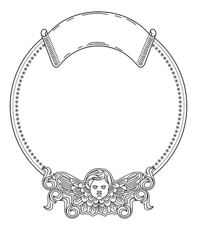 Black and white round  frame with outline cherub in vintage style. Vector custom element for design artworks.