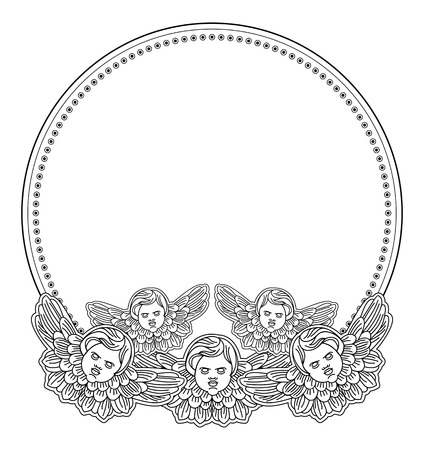 cherub: Black and white round  frame with outline cherub in vintage style. Vector custom element for design artworks.