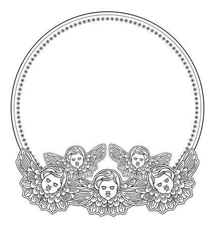 god box: Black and white round  frame with outline cherub in vintage style. Vector custom element for design artworks.