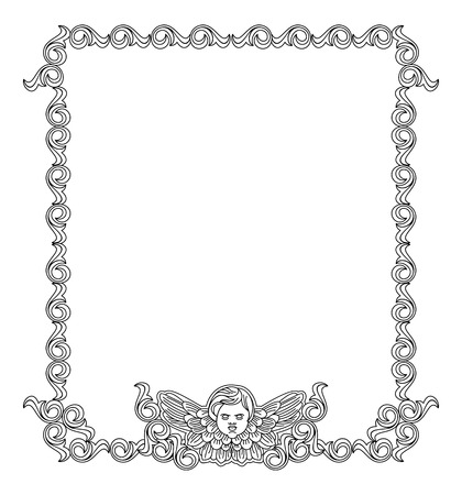cherub: Elegant frame with cherub in vintage style. Vector custom element for design artworks. Illustration