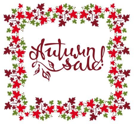 advertisements: Original custom lettering Autumn sale!. Design element for advertisements, print and web banners.