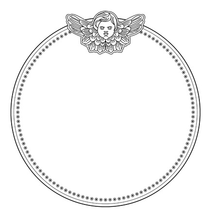 cherub: Vector round frame with cherub in vintage style. Custom element for design artworks. Illustration