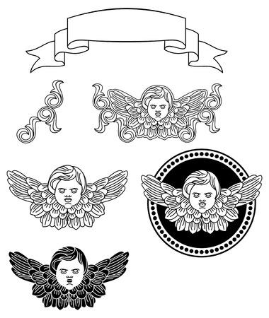 Cherubs. Design elements for artworks. Illustration