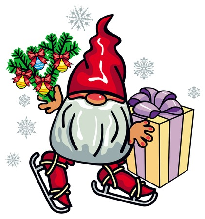 cute gnome ice skating funny character for christmas decorations greetings cards and other design