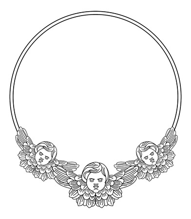 holy book: Round frame with cherub in vintage style. Vector custom element for design artworks.